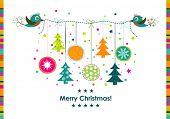 Template Christmas greeting card, ribbon, vector illustration