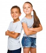 Portrait of cute girl and boy, isolated over white