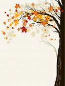 Autumn background with trees. Place for text. Raster version.