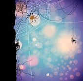 Festive autumn background with spiders. Place for text. Raster version