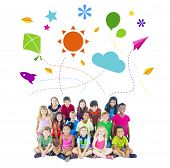 Group of Children and Playful Symbols