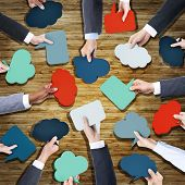 Aerial View of Business People Holding Speech Bubbles