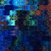 art abstract colorful graphic background; geometric border stylized pattern in blue, orange, black a