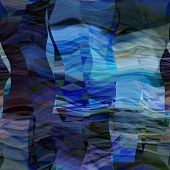 art abstract colorful chaotic waves seamless pattern; background in blue, white and black colors
