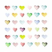 Set Of Hand Drawn Watercolor Hearts. Beautiful Hearts With Paper Texture For Your Design, Square For