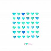 Beautiful Love Card With Colorful Fun  Watercolor Hearts Isolated On White Background.