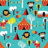 Seamless colorful kids circus animals and fun fair camping background postcard cover design in vecto