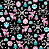 Seamless baby reindeer christmas winter snow illustration background pattern in vector