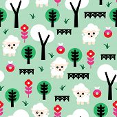 Seamless mint field with sheep and flower blossom kids farm illustration background pattern in vecto
