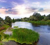 Morning scene on Psel` river, Ukraine