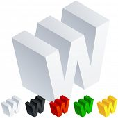 Vector illustration of solid 3D letter in isometric view. Alphabet characters. Letter w
