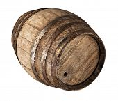 image of classic wood barrel on white background