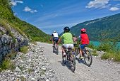 people with mountain bike and nice scenery