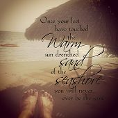 Instagram Of Womans Feet Relaxing On Tropical Beach With Quote