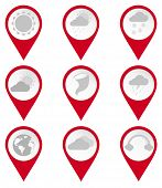 Map Pin Icons Of Climates
