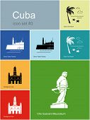 Landmarks of Cuba. Set of color icons in Metro style. Raster illustration.