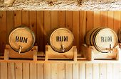 stock photo of dispenser  - Old wooden barrels in the basement - JPG