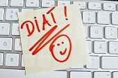 a sticky note is on the keyboard of a computer reminder: diet