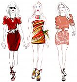 Colorful fashion women defile - vector illustration