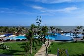 swimming pool of a 5 stars luxury hotel at Vung Tau , Vietnam. Vung Tau is a famous province at Sout