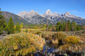 Grand Teton mountains in morning sun light
