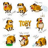 Cute cartoon dog Toby. Set 1