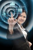 Business And Future Technology Concept - Smiling Businesswoman Working With Virtual Screen