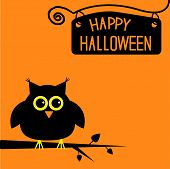 stock photo of nameplates  - Happy Halloween cute owl card - JPG