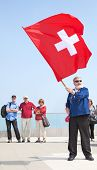 MOUNT PILATUS - JULY 13: Unidentified man demonstrating traditional swiss