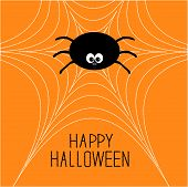 Cute Cartoon Spider On The Web. Halloween Card.
