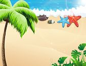 Beach With Palm Trees And  Starfishes