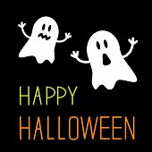 Two Funny Halloween Ghosts. Card.