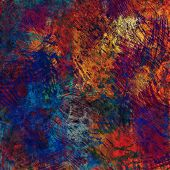 art abstract rainbow acrylic and pencil background with orange, blue, red and violet colors