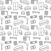 Seamless pattern of furniture. Beautiful background. Vector illustration. Endless texture can be use