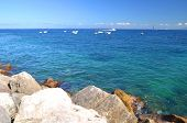 Picturesque summer landscape of beautiful beach in marina grande on capri island, Italy