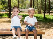 Little Boys: African American And Caucasian In Park On Nature At Summer