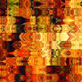 art abstract colorful graphic background; geometric border stylized pattern in gold, orange, red, br