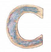Painted wood alphabet, letter C