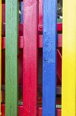 Four,vertical colored laths