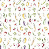 Seamless kitchen background of vegetables. Beautiful background. Vector illustration. Endless textur