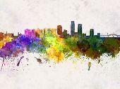Corpus Christi Skyline In Watercolor Background