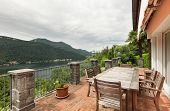 Nice house, outdoor, lake view from the balcony