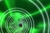 Digitally generated Green spiral with bright light