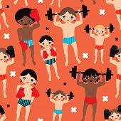 Seamless weight lifting cool bodybuilder boys and boxers illustration vintage style background patte