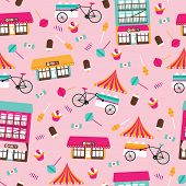 Seamless candy show and ice cream stand bike colorful kids illustration background pattern in vector