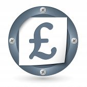 Dark Abstract Icon With Paper And Pound Symbol