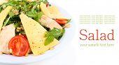 Fresh salad with arugula, isolated on white