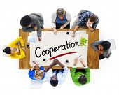 Aerial View of Multiethnic Group with Cooperation Concept