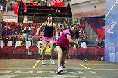 AUGUST 21, 2014 - KUALA LUMPUR, MALAYSIA: Habiba Ahmed (pink shirt) of Egypt plays Amanda Sobhy of USA in a match at the CIMB Malaysian Open Squash Championship 2014 held in Nu Sentral Mall.