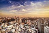 Tokyo, Japan in Shinjuku Ward at dusk.